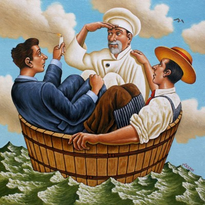 YTHREE MEN IN A TUB